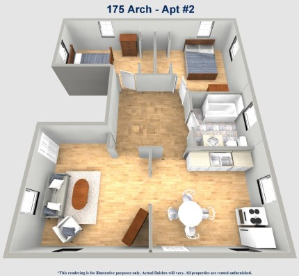 175 Arch Street #2 Apartment Layout Roo Town Rentals University of Akron Student Housing