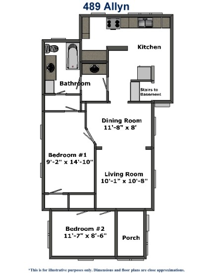 489 Allyn Dimensions The BEST two bedroom house at the University of Akron